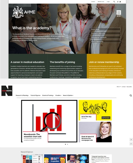 Good homepages: AOME & Newsworks
